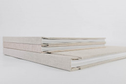 Wedding books with beige natural linen cover