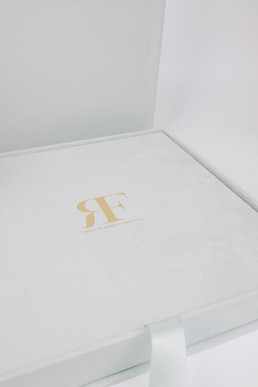 wedding book with emblem in gold foil